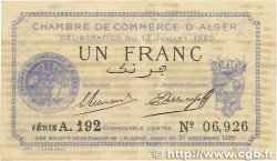 1 Franc FRANCE régionalisme et divers Alger 1920 JP.137.15 TTB