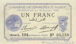 1 Franc FRANCE régionalisme et divers Alger 1920 JP.137.15 SUP+