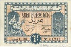 1 Franc FRANCE régionalisme et divers CONSTANTINE 1919 JP.140.22 SUP+