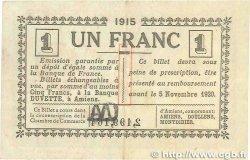 1 Franc FRANCE régionalisme et divers Amiens 1915 JP.007.43 pr.TTB
