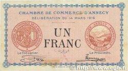 1 Franc FRANCE régionalisme et divers ANNECY 1916 JP.010.05