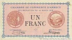 1 Franc FRANCE régionalisme et divers ANNECY 1916 JP.010.05 SUP