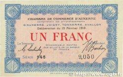 1 Franc FRANCE régionalisme et divers Auxerre 1916 JP.017.08 SPL+