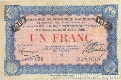 1 Franc FRANCE régionalisme et divers Auxerre 1920 JP.017.26 TB