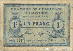 1 Franc FRANCE régionalisme et divers Bayonne 1921 JP.021.70 B+