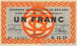 1 Franc FRANCE régionalisme et divers BÉZIERS 1914 JP.027.08 SUP