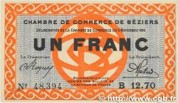 1 Franc FRANCE régionalisme et divers BÉZIERS 1914 JP.027.08 SUP+