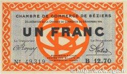 1 Franc FRANCE régionalisme et divers BÉZIERS 1914 JP.027.08 SPL