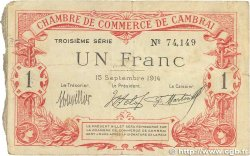 1 Franc  FRANCE regionalism and various Cambrai 1914 JP.037.21