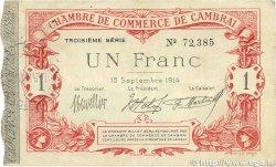 1 Franc FRANCE régionalisme et divers CAMBRAI 1914 JP.037.21 pr.TTB