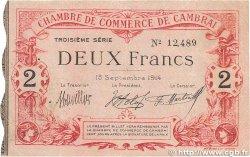 2 Francs FRANCE régionalisme et divers CAMBRAI 1914 JP.037.22 TB