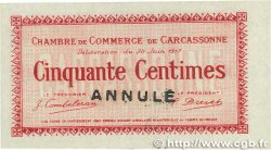 50 Centimes Annulé FRANCE regionalism and miscellaneous Carcassonne 1917 JP.038.12 UNC-