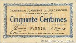 50 Centimes FRANCE régionalisme et divers CARCASSONNE 1920 JP.038.15 TTB