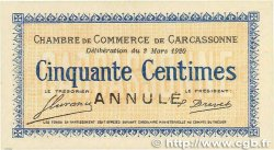 50 Centimes FRANCE regionalism and various Carcassonne 1920 JP.038.16 aUNC