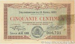 50 Centimes FRANCE régionalisme et divers CHAMBÉRY 1920 JP.044.12 SUP
