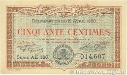 50 Centimes FRANCE régionalisme et divers Chambéry 1920 JP.044.12 SPL