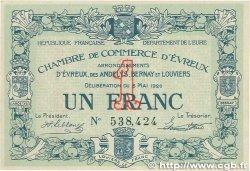 1 Franc FRANCE régionalisme et divers Évreux 1920 JP.057.15 TTB+