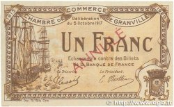1 Franc FRANCE regionalism and various GRANVILLE 1917 JP.060.14 aXF