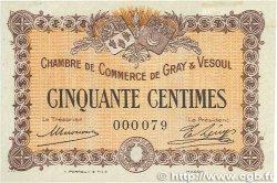 50 Centimes FRANCE régionalisme et divers GRAY et VESOUL 1915 JP.062.01 SPL