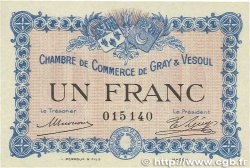 1 Franc FRANCE regionalism and miscellaneous Gray et Vesoul 1915 JP.062.03 XF+