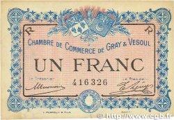 1 Franc FRANCE régionalisme et divers GRAY et VESOUL 1915 JP.062.09 pr.TTB