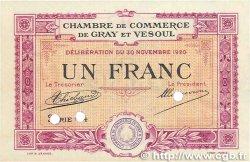 1 Franc FRANCE régionalisme et divers GRAY et VESOUL 1920 JP.062.18 pr.NEUF