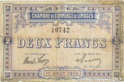 2 Francs FRANCE régionalisme et divers Limoges 1914 JP.073.05 B+