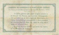 1 Franc FRANCE régionalisme et divers MONTLUÇON, GANNAT 1916 JP.084.23 TB