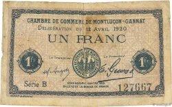 1 Franc FRANCE régionalisme et divers Montluçon, Gannat 1920 JP.084.52 B