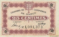 25 Centimes FRANCE régionalisme et divers Nancy 1918 JP.087.57 TB+