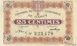 25 Centimes FRANCE régionalisme et divers Nancy 1918 JP.087.58 TTB