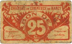 25 Centimes  FRANCE régionalisme et divers Nancy 1918 JP.087.64 TB