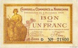 1 Franc FRANCE régionalisme et divers Narbonne 1915 JP.089.06 TTB
