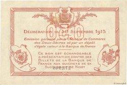 50 Centimes FRANCE régionalisme et divers Niort 1915 JP.093.01 TTB+