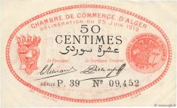 50 Centimes FRANCE régionalisme et divers ALGER 1919 JP.137.11 pr.SUP