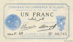 1 Franc FRANCE régionalisme et divers ALGER 1919 JP.137.12 SUP