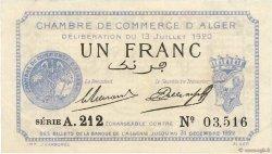 1 Franc FRANCE régionalisme et divers Alger 1920 JP.137.15 SUP