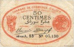 50 Centimes FRANCE régionalisme et divers Alger 1920 JP.137.16 pr.TB