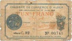 1 Franc FRANCE régionalisme et divers ALGER 1922 JP.137.24 pr.B