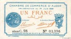 1 Franc FRANCE régionalisme et divers ALGER 1922 JP.137.24 pr.SUP