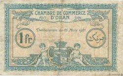 1 Franc FRANCE régionalisme et divers ORAN 1921 JP.141.27 pr.TB