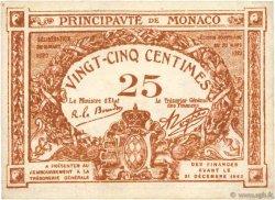 25 Centimes marron MONACO  1920 P.01a TTB