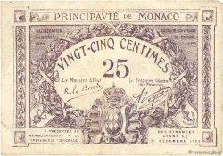25 Centimes violet MONACO  1920 P.02c TB+