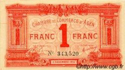 1 Franc FRANCE régionalisme et divers AGEN 1914 JP.002.03 TTB à SUP
