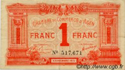 1 Franc FRANCE régionalisme et divers AGEN 1914 JP.002.03 TB