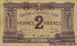 2 Francs FRANCE régionalisme et divers AGEN 1914 JP.002.05 TB