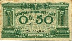 50 Centimes FRANCE régionalisme et divers AGEN 1917 JP.002.07 TB