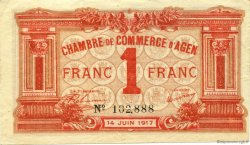 1 Franc FRANCE régionalisme et divers Agen 1917 JP.002.09 SPL à NEUF