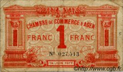 1 Franc FRANCE régionalisme et divers AGEN 1917 JP.002.09 TB