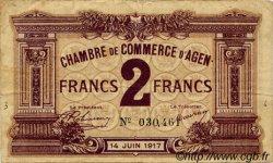 2 Francs FRANCE régionalisme et divers Agen 1917 JP.002.11 TB